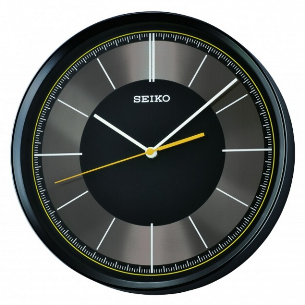 ... Clocks > Seiko Clock - Monroe Black Wall Clock w/ Quiet Sweep Hand