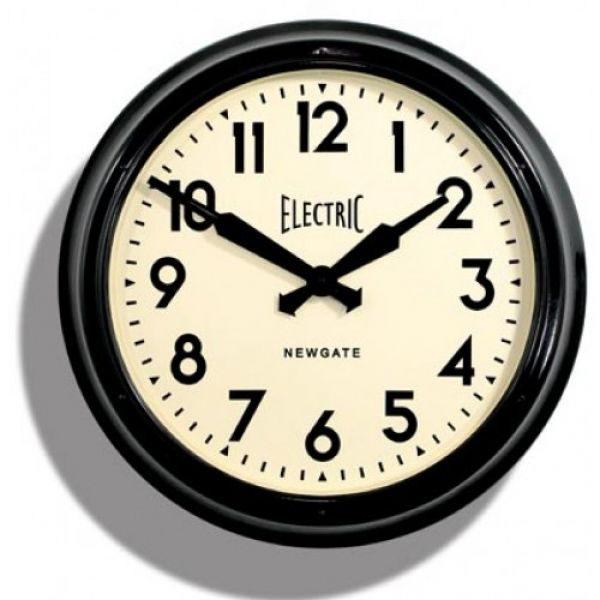 Newgate Clocks GWS44K Small Electric Wall Clock Black