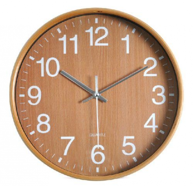 Round 12-inch Non Ticking Ultra Silent Analog Wall Clock (Brown Retro ...