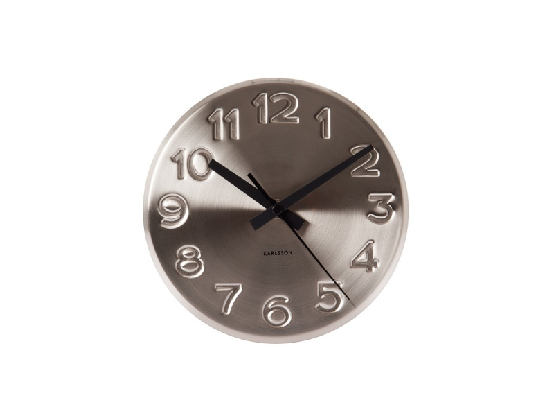 Karlsson Bold Engraved Numbers Wall Clock - Steel | Urban Gifts