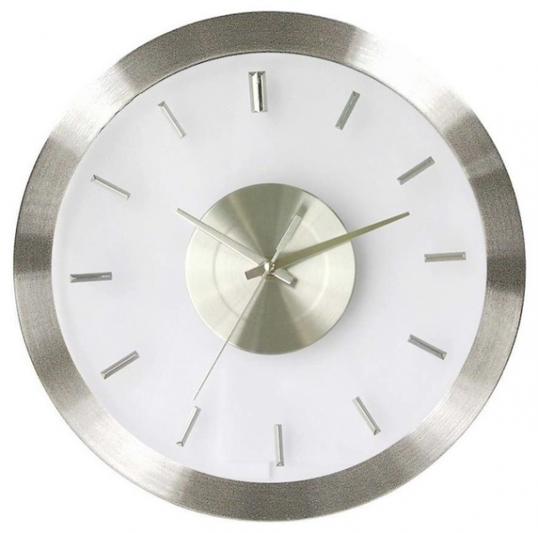 Stainless Steel Wall Clock w Clear Face - Contemporary - Wall Clocks ...