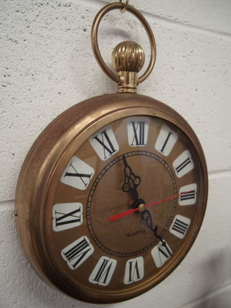 ... - WALL HANGING Oversized POCKET WATCH - Brass Clock - Kitsch - JAPAN