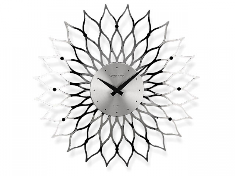 Silver Finish Flower Wall Clock - 035760