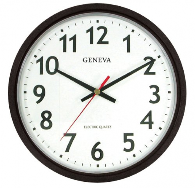 Buy Geneva 14-Inch Electric Quartz Wall Clock, Black Web Store