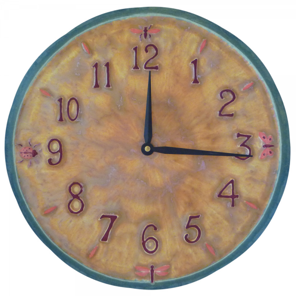 Little Wings Ceramic Wall Clock in Yellow, Pink & Teal
