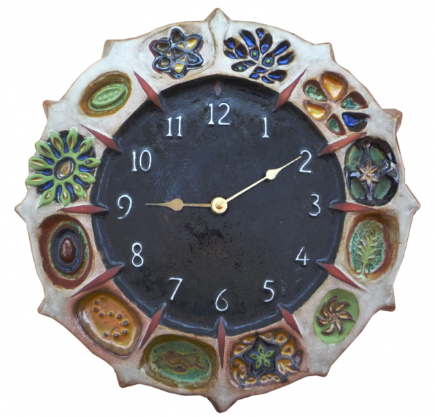 Wheel of Life Ceramic Wall Clock with Black Center