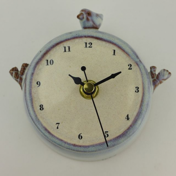 Handmade Ceramic Wall Clock with Bird and Twigs - Folksy