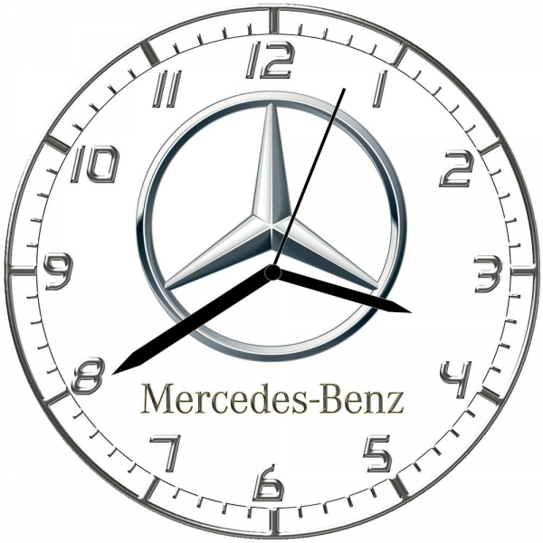 Wall Clock 10 inch Modern Car Logo Mercedes Benz Logo Option 1 ...
