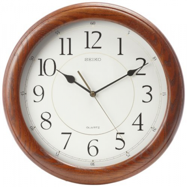 Seiko Wall Clock Quiet Sweep Second Hand Dark Brown Solid Oak Case by ...