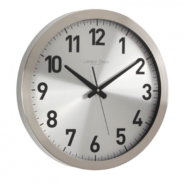 SILENT SWEEP BRUSHED METAL WALL CLOCK