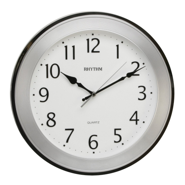 Rhythm Plastic Silent Sweep Wall Clock - Textured Round Silver ...