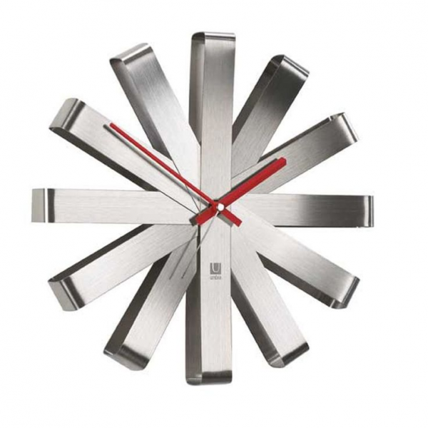 New Modern 12 Wallclock Ribbon Stainless Steel Wall Clock Unique Rib ...