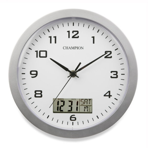 Wall Clock :: Champion WLD1 Silver Wall Clock With Diital Day Date ...