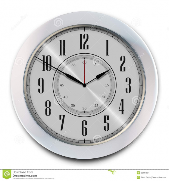 Elegant Modern Office Wall Clock on White. 3D illustration.