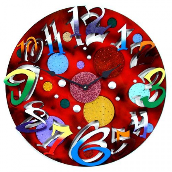Big Time Modern Red Wall Clock By David Scherer David Scherer Studios ...