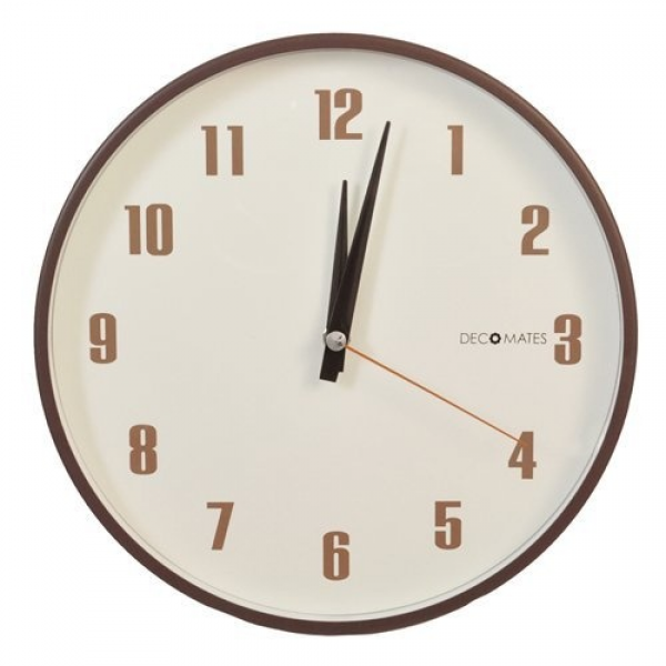 NEW DecoMates Non-Ticking Silent Wall Clock - Retro (Brown)