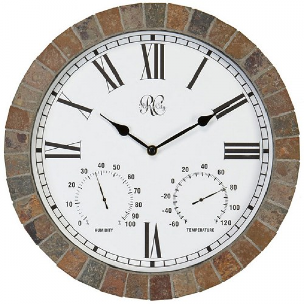 Indoor/Outdoor Tile Clock with Time, Temperature, and Humidity
