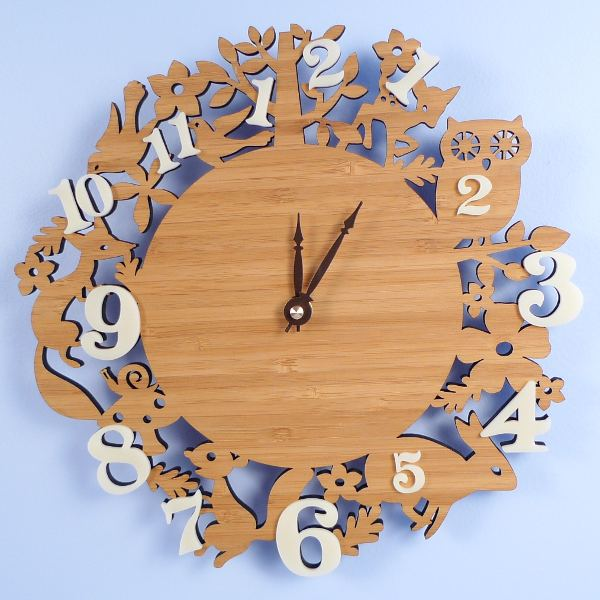 My Sweet Muffin - Handmade Bamboo Wall Clock, Forest