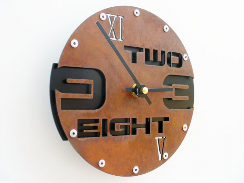 Outnumbered I Modern Wall Clock Small Rusted w/ by All15Designs