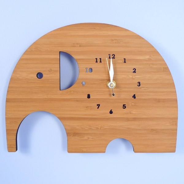Handmade Bamboo Wall Clock, Elephant - Contemporary - Clocks - by My ...
