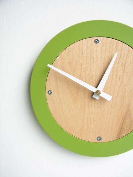 Items similar to apple green modern wall clock on Etsy