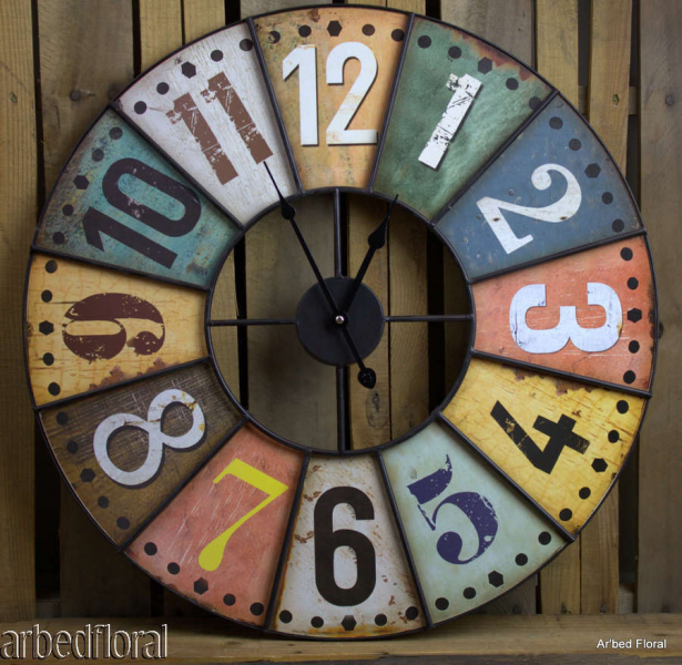... Colored Industrial Style Wooden Metal Wall Clock Iron Metal | eBay