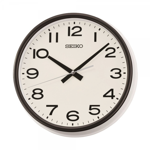 ... Seiko › Seiko Retro Wall Clock - Black & White Case with Quiet Sweep