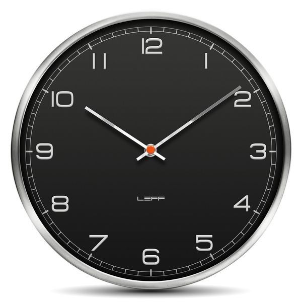 LEFF Amsterdam One45 Wall Clock Stainless Steel Black Arabic