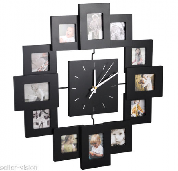 ... Multi Photo Frame Display Wall Clock Time Family Album Black Modern