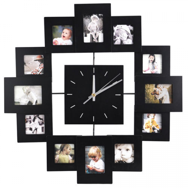 12 Picture Multi Photo Frame Display Wall Clock Time Family Album ...
