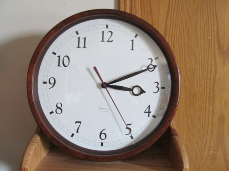 Large Wall Clock with 14 Wood Frame Mahogany Finish by KlockWize