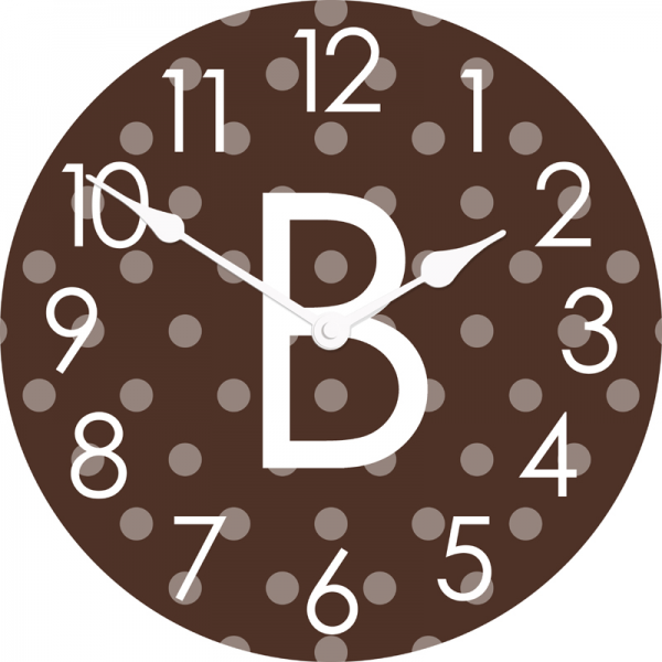 ... : Personalized Polka Dots Wall Clock: Clocks,Personalized Items
