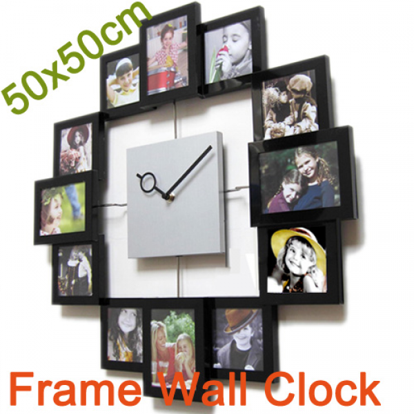 Details about Personalized Photo Frame Wall Clock Holding 12 Photos