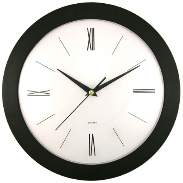 Round Black Frame Wall Clock with White Dial - Walmart.com