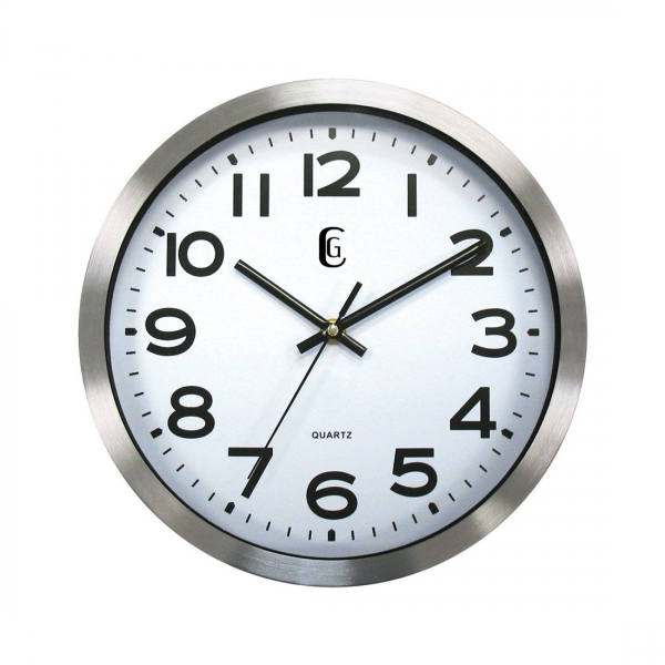 Geneva Clocks 4629G Brushed Silver Metal Wall Clock | ATG Stores