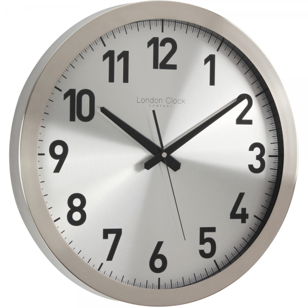 Brushed Metal Contemporary Wall Clock 41cm