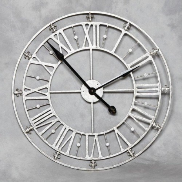Meduim Silver Iron Skeleton Wall Clock