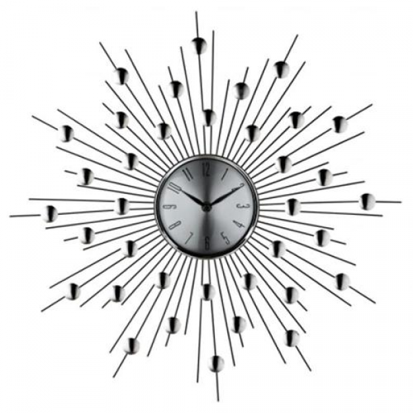 East End Imports EEI-761 Silver Starburst Wall Clock -Retro Modern ...