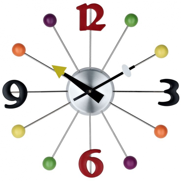 East End Imports Juggler Wall Clock in Silver Black Red Green Yellow ...