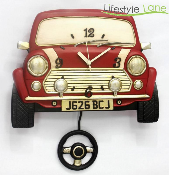 Hand Painted RED Mini Cooper Wall Clock | eBay