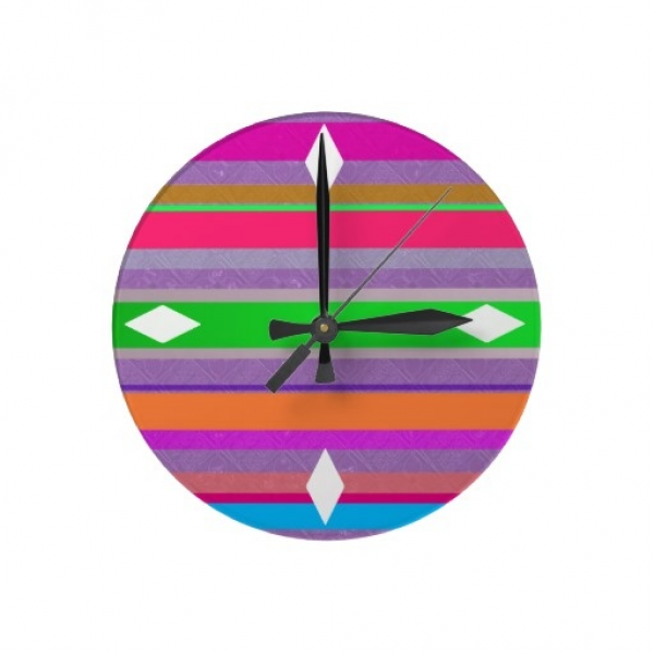 bold trendy multicolored bright stripes wall clock