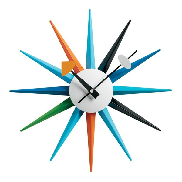 Blue Modern Star Burst Wall Clock #decor