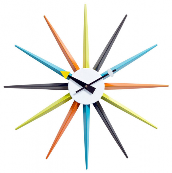 Sunburst Wall Clock in Multicolor - Modern - Wall Clocks - by LexMod