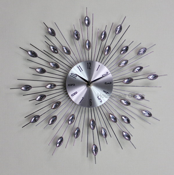 Modern 33cm diamante beaded jewelled crystal sunburst silver wire wall ...