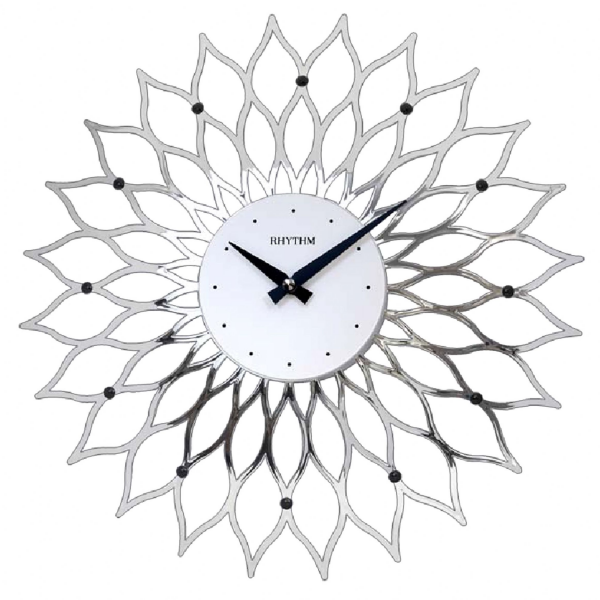 Silver Modern Chrome Plated Flower Rhythm Wall Clock - Silent Sweep ...