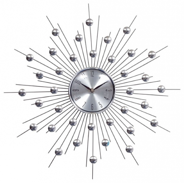 LexMod Silver Starburst Wall Clock - Modern - Clocks - by Amazon
