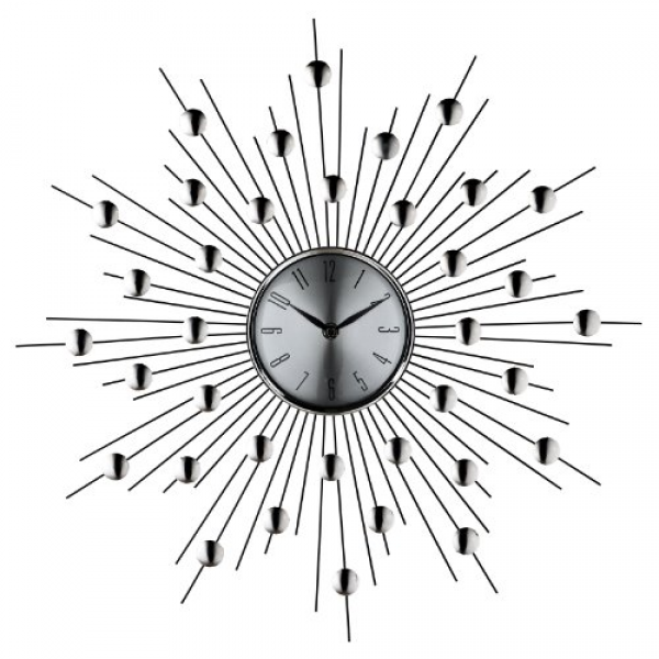 ... » Wall Clocks » LexMod Silver Starburst Wall Clock (Retro Modern