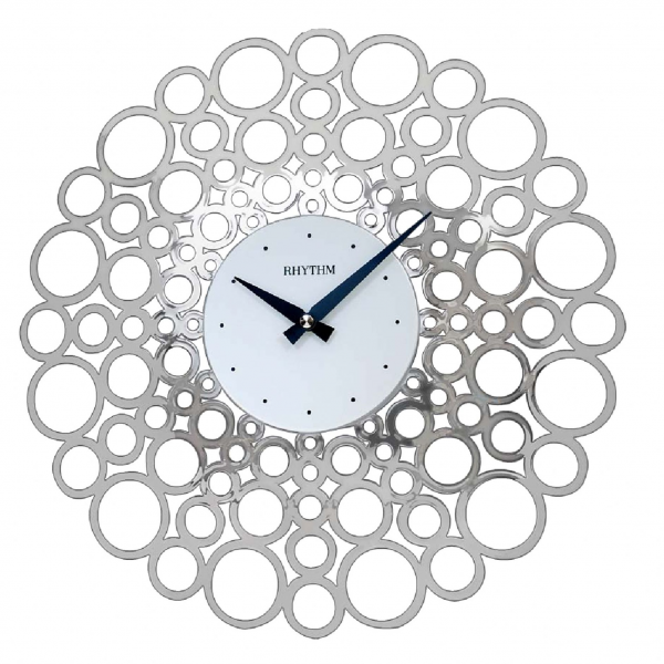 Silver Modern Chrome Plated Bubble Rhythm Wall Clock - Silent Sweep ...