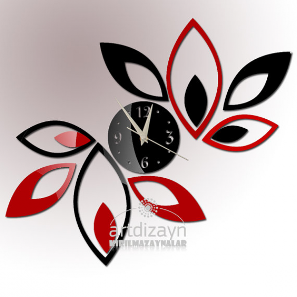 Modern wall clock red and black living room design wall decor