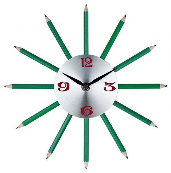 Pencil Wall Clock in Silver Red Black Green - Modern - Clocks - by ...